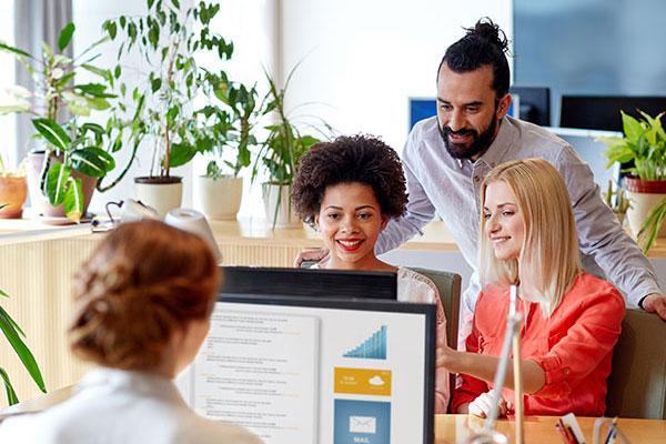 Bir ofiste bilgisayar başında çalışan 3 bayan bir erkek.